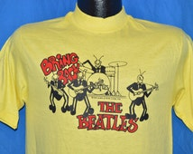 70s Bring Back the Beatles David Peel 1976 Rock Album Yellow Vintage t-shirt Medium