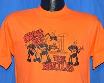 70s Bring Back the Beatles David Peel 1976 Rock Album Orange Vintage t-shirt Medium