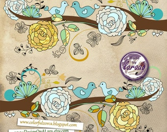 Wedding Love Birds mint and gold, Wedding Flower Clipart, Wedding birds clipart flower, flower clipart, wedding clipart, wedding invitation