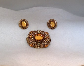 W Germany Yellow Brooch and Earrings