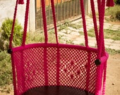 Handmade Macramé Adult Chair | Hot Pink