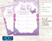 Girl Buttefly  Name That Food, Baby Food guess Game Printable Card for Baby Buttefly Shower DIY Purple Pink Bokeh -ao131bs25