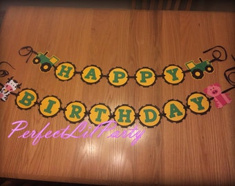 Tractor and Farm Animals Birthday Banner