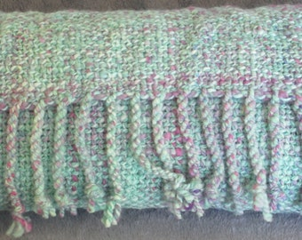 Orchid Sunset - hand woven, hand spun, hand dyed Rambouillet scarf