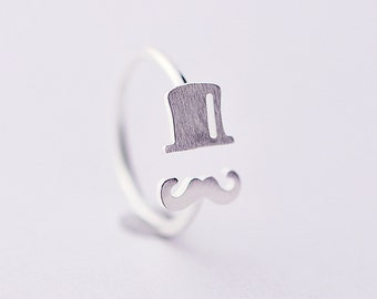 925 Sterling Silver Hat Mustache Adjustable Silver Ring 927