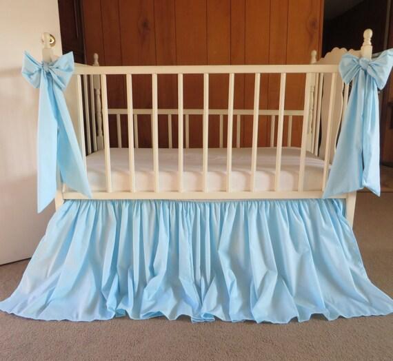 light blue aqua blue crib skirt and 2 decor by sewwhatgrandma