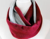 Burgundy and Gray Fleece Infinity Scarf, Maroon, Dark Red, Unisex, Fall Winter Scarf