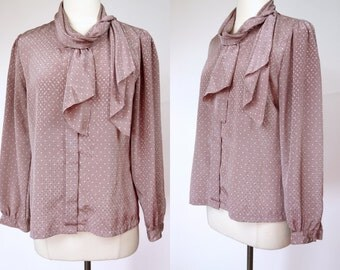 1980s lavender ascot secretary blouse, white polka dot long sleeve top, Medium to large. size 8 to 10