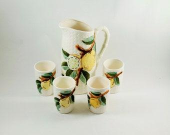 S A L E 25% OFF - Lemonade Pitcher and Glasses, Japanese Kitchenware, Ceramic Juice Pitcher, Ceramic PItcher Set