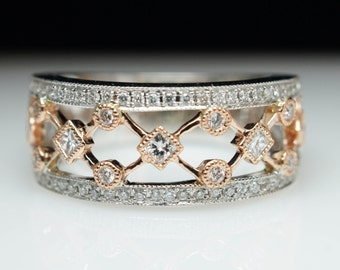 X O Diamond Band in 14k White Gold 14k Rose Gold Anniversary Band Wedding Band Diamond Band Criss Cross Open Face Band