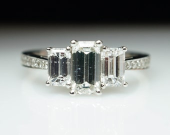 Beautiful Vintage 3 Stone 1.66ctw Emerald Cut Diamond Engagement Ring  Emerald Diamond Ring Three Stone Engagement Ring Band
