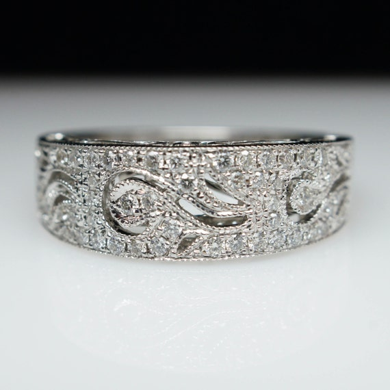 intricate swirl diamond engagement band band in 14k white gold On intricate wedding rings