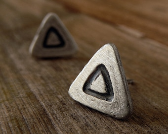 Triangle Sterling Silver Stud Earrings - Modern Oxidized Everyday Studs - Minimal Matte Jewellery - Tribal, Boho Chic Hipster Jewelry