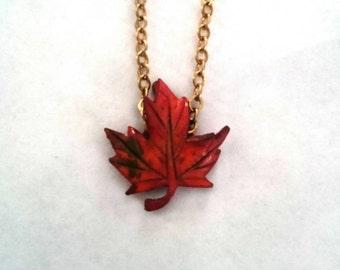 Handmade Autumn Leaf necklace 1960's