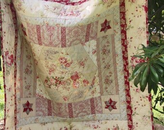 Floral Delight Quilt PDF Pattern- Vintage Reproduction Style- Embroidery and Applique