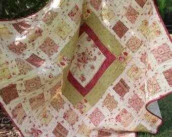 Vintage Quilt  PDF Pattern - Ruby Quilt - Reproduction Fabrics, Vintage Style Quilt