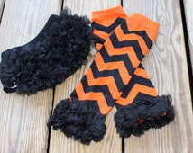 Black and OrangeChevron Halloween Leg Warmers and Bloomer Set, Bloomers, Infant, Baby, Toddler, Baby Leg Warmers, Ruffle Leg Warmers