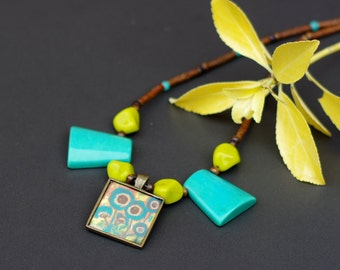Tribal Style Necklace, Art Resin Pendant, Brown Turquoise Pendant Necklace, Teal Flowers Pendant, Brown Wooden Necklace