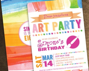 5x7 Art Party Birthday Invitation - Painting Theme Party