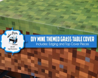 DIY Mine Themed Grass Table Cover - Instant Download - Printable - Includes Top and Edging Pieces Artwork - 300 DPI JPGs