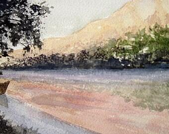 Morning Light-Watercolor ORIGINAL Landscape Painting-River-Canoe-not a print-5x7