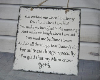 Handmade Wall Plaque Dad-Father-Step Father Poem Thank you gift