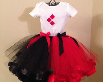 Harley Quinn Costume, White Onsie/Shirt Red-Black Striped Tutu Outfit For Baby/Toddler/Girls