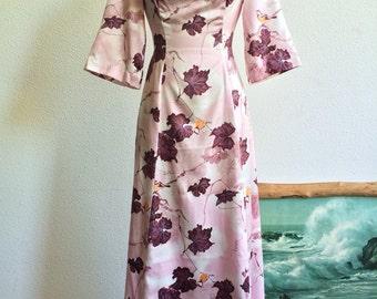 1970's Handmade Sparrow and Branch Print Dress