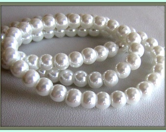 6 mm White Pearls,  Celestial Pearls, Pearl Beads, Pearls, Beading Supplies, Beads,  Faux Pearls, 16 inch strand Item #588