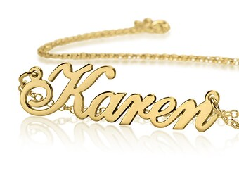 Solid Gold 14K Carrie Style Personalized Gift for Her - Choose any name to personalize