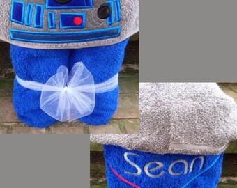 Star Wars R2D2 Inspired Hooded Towel/ R2D2 Costume/ Star Wars Costume/ Star Wars Towel/ Disney Towel/ R2D2 Towel/ Beach Towel/ Pool Towel