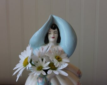 Vintage Weil Ware Woman with Blue Hat #1730 Figural Vase California Pottery