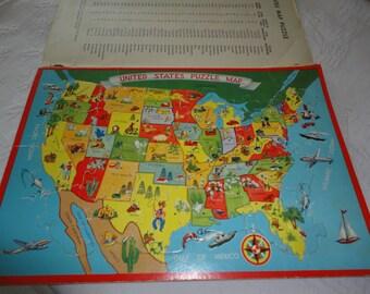 United States Puzzle Etsy - Large wood us map puzzle