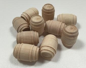 """7/8"""" Wooden Pickle Barrels - 10 - Unfinished Wood - 5/8"""" Wide - Mini Barrel - Beer Barrel - Whisky Barrel - Wine Barrel"""