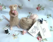 Mouse With Flower Posy Needle Felting Kit DIY Craft Kit Make Your Own Needle Felted Mouse 'Maisie' Mouse