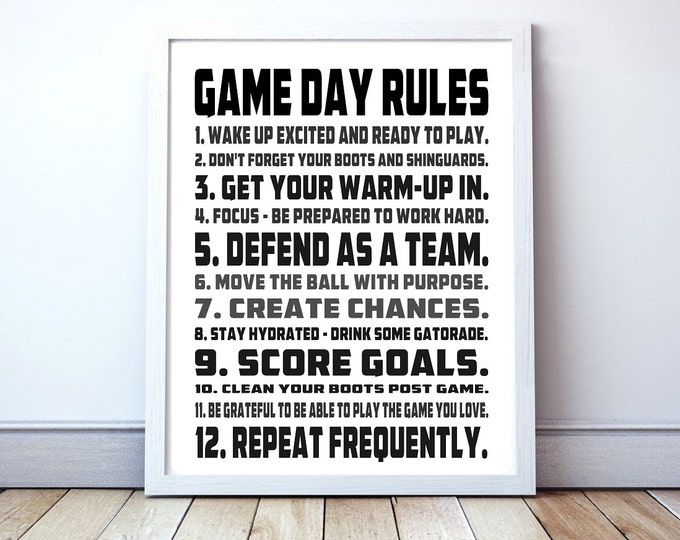 Game Day Rules - Custom Soccer Typography Print