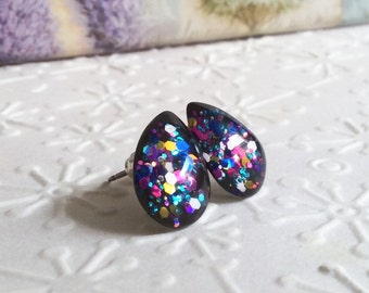Explosion of colors teardrops glitter glass stud earrings,tiny stud earrings,resin glitter earrings,glass glitter earrings,titanium earrings