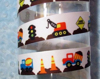 Work Zone - Under Construction Grosgrain Ribbon - 7/8 inch wide x 5 yards
