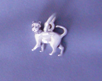 1 Sterling Silver Small Tiny Kitty Cat Charm, Mini