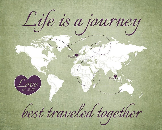 Long Distance Love Map Life Is A Journey Travel Wedding