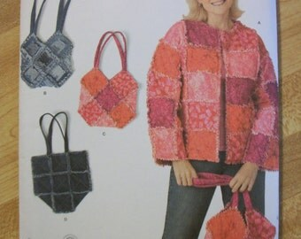 Simplicity 3898 Misses (Size A S,M,L,XL) jacket and bags  Uses the rag quilt method