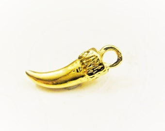 Vermeil, 18k gold over 925 Sterling Silver  Horn Pendant 1 pc., vermeil horn, shiny gold horn