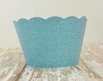 Baby Blue Metallic Glittered Standard and Mini Sized Cupcake Holders/Wrappers-Set of 12-Birthdays, Weddings, Showers, Parties