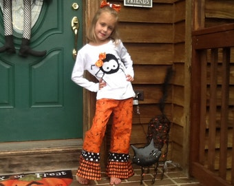 Halloween Fall Spider double ruffle pant outfit 12 18 3 4 5 6 7 8