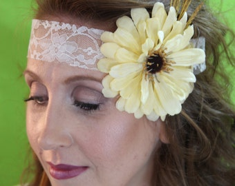 "Cream and White Flower and Lace Headband with Ribbon Tie ""Hadley"""
