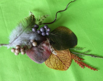 "Fall Earthy Feather, Leaf and Berry Spray Clip ""Sadie"""