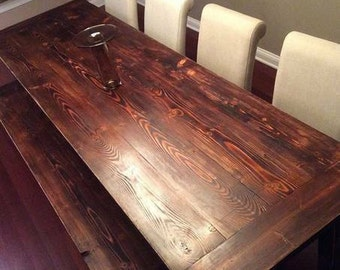 Torched Pine Wide-Plank Harvest Table