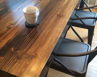 Chicago Fire Parsons Table - Torched Wood Furniture // hand made // dining table // parsons table