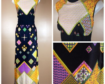 JEWEL HEIST - early 70s jewel tone patchwork jumpsuit with split maxi - modern size 6-8