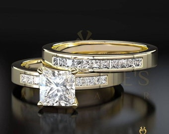 Women Diamond Rings Set 14K Yellow Gold 1.60 Carat F SI1 Princess Cut Engagement Ring And Half Eternity Wedding Band